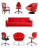 红色就座家具 免版税库存图片