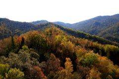 红色山的秋天风 库存照片