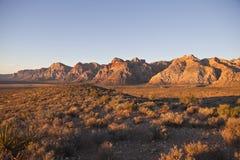 红色岩石全国保护地区-黎明 免版税库存照片