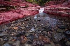 红色岩石峡谷在Waterton湖 库存照片