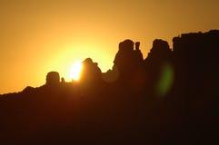 红色岩石日落 库存图片