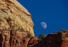 红色岩石秘密Mt 有月亮的原野在白天蓝天Sedona AZ 库存图片