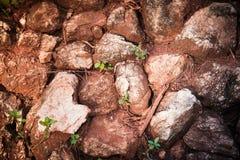 红色岩石铁路轨道,石背景葡萄酒过滤器 库存图片