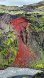 红色岩石 冰岛 库存照片