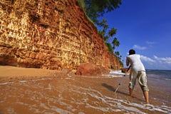 红色峭壁猛击sa帕纳Fung Daeng Prachuap Khiri Khan泰国 库存照片