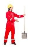 红色工作服的人 库存照片