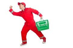 红色工作服的人 免版税库存图片