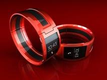 红色巧妙的手表 免版税库存图片