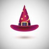 红色巫婆帽子为万圣夜 库存图片