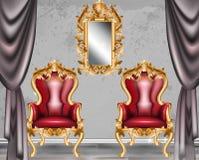 红色巴洛克式的魅力扶手椅子 有维多利亚女王时代被装饰的织品的家具 传染媒介现实3D设计 库存图片