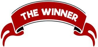 红色带的优胜者 免版税库存照片