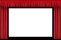 红色帷幕。空白的戏院屏幕 库存照片