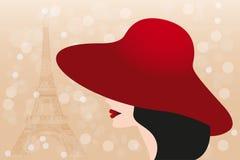 红色帽子和黑发女孩和埃佛尔铁塔-储蓄Illustratio 免版税库存图片