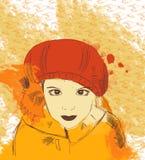 红色帽子和围巾的美丽的浪漫女孩 库存图片