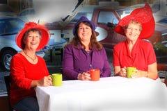 红色帽子夫人咖啡小时 图库摄影