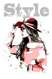 红色帽子的手拉的美丽的少妇 方式妇女 时髦的夫人画象 草图 库存照片
