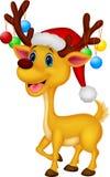 戴红色帽子的逗人喜爱的鹿动画片 图库摄影