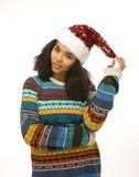 红色帽子的年轻俏丽的非裔美国人的女孩 图库摄影