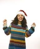 红色帽子的年轻俏丽的非裔美国人的女孩 库存照片