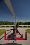 红色开放驾驶舱旋翼机 免版税图库摄影