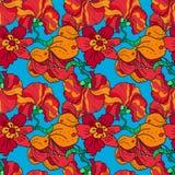 红色开花无缝的样式 免版税图库摄影