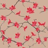 红色开花杏仁无缝的样式 免版税库存照片