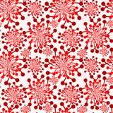 红色开花葡萄酒墙纸无缝的纹理 免版税库存照片