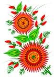 红色开花装饰民间要素EPS 10 免版税库存图片
