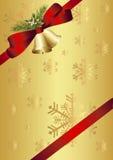 红色弓、响铃、槲寄生和冷杉枝杈 库存图片