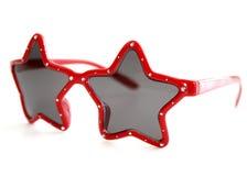 红色形状的星形太阳镜 免版税图库摄影