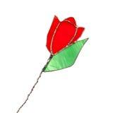 红色彩色玻璃在白色隔绝的郁金香花 免版税库存照片