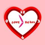 红色心形的时钟。 关于爱一直。 库存图片