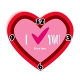红色心形的时钟。 关于爱一直。 免版税库存照片