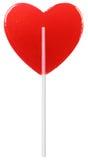 红色心形的棒棒糖 免版税库存图片