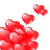 红色心形的气球。 情人节符号。 免版税库存照片