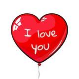 红色心形的气球 标记我爱你 库存图片