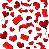 红色心脏、箭头和lett无缝的背景  免版税库存图片