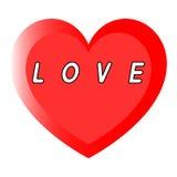 红色心脏为与两道路和黑道路的妇女的天与白色积土的一个说明 库存图片