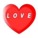 红色心脏为与两道路的妇女的天与白色积土的一个说明 库存照片