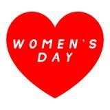 红色心脏为与白色积土说明的妇女的天 免版税库存照片