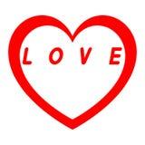 红色心脏为与红色道路的妇女的天和白色填装一个红色署名 库存照片