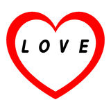 红色心脏为与红色道路的妇女的天和白色填装一个黑署名 库存图片