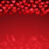 红色心脏华伦泰` s天背景 图库摄影
