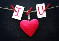红色心脏和卡片文本我爱你在绳索的木布料钉举行  免版税图库摄影