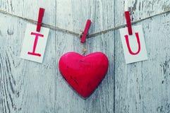 红色心脏和卡片文本我爱你在绳索的木布料钉举行  免版税库存图片