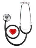 红色心脏和听诊器,隔绝在与裁减路线的白色背景 免版税库存图片
