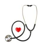 红色心脏和听诊器,隔绝在白色背景 库存图片