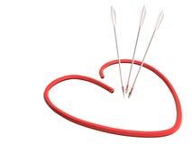 红色心脏和箭头, 3D 免版税库存图片