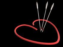 红色心脏和箭头, 3D 库存图片