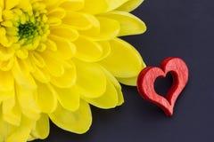 红色心脏和菊花 免版税库存图片